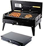 SunJas Holzkohlegrill, Campinggrill, faltbare BBQ Grill, Outdoor Reisegrill, Tischgrill, Mini Grill für Picknick Party Barbecue, inkl. 2tlg Grillbesteck, 43*27*46.5cm