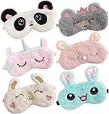 Bascolor 6Stk Schlafmaske Kinder Augenmaske Süße Schlafmaske Tieraugenmaske Einhorn Panda Augenbinde Plüsch Schlafbrille Lustig Augenabdeckung für Kinder Mädchen Damen