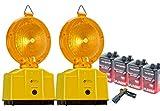 UvV Set 2 x Baustellenleuchte, Warnleuchte gelb - mit Schloss, LED, inkl. 4 Batterien und Lampenschlüssel - das komplettset für Ihre Baustelle, Baustellenabsicherung