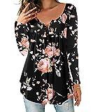 DEMO SHOW  Damen Tunika Top Locker Langarm V Ausschnitt Knopfleiste Plissiert Floral Henley Shirt Bluse T Shirt, XXL, Schwarz