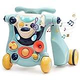 COSTWAY 2 in 1 Lauflernhilfe und Bobby Car, Baby Walker, Gehfrei, Laufhilfe, Lauflernwagen, Laufspielzeug, Rutscherauto mit Musik & Licht, für Babys über 6 Monaten (Blau)