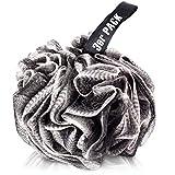 Badeschwamm, Duschschwamm, Wellness, Bürste, Peelingschwamm, Peelinghandschuh, stark schäumend 3er Pack (3x schwarz/weiß)