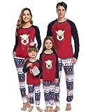 Aibrou Weihnachten Schlafanzug Familien Pyjama Set Lang Nachthemd Nachtwäsche Hausanzug mit Davidshirsch (Rot-Kinder, M)