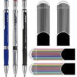 3pcs 2,0 mm Druckbleistifte mit Bonus 4 Cases Nachfüllungen, Farb- und Schwarzminen zum Zeichnen, Schreiben, Basteln, Kunstskizzieren, Tischler.