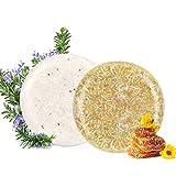 100% Vegan Shampoo Bar fürs Haar 2 Stücke Festes Shampoo HaarseifeNaturkosmetik für Behandeltes Trockenes Geschädigtes Haar für Damen Herren (Honig und Rosmarin)
