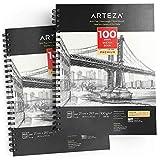 Arteza Skizzenblock, A4 210 x 297mm, 2er-Set spiralgebundene Sketchbooks mit je 100 Blättern, 100 g/m² säurefreies dickes Papier, fein gezahnte Oberfläche, für viele trockene Medien