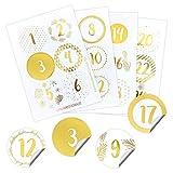 Papierdrachen 24 Adventskalender Zahlenaufkleber - Rose Gold | Nummer 189 - Sticker für deinen Weihnachtskalender - zum Basteln und Dekorieren