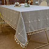 Pahajim Karierte Tischdecke Abwaschbar Baumwolle und Leinen Tischtuch Couchtisch dekorative staubdichte Gartentischdecke Küchentischabdeckung (Grau Gitter,Rechteckig/Oval,140x260cm)