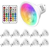 GU10 LED Farbwechsel Lampe, 5W ersetzt 50W Halogen,500 Lumen, GU10 LED Warmweiss 2700K RGBW, gu10 farbe Dimmbar ,10 Stück