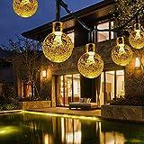 Solar Lichterkette Außen, FOCHEA 8M 50er LED Aussen Solar Lichterkette Kristall Kugeln 8 Modi IP65 Wasserdicht Solarbetriebene Lichterkette Außenlichterkette Garten Lichterkette Beleuchtung für Partys