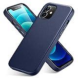 ESR Echtleder Hülle entwickelt Kompatibel mit iPhone 12/iPhone 12 Pro (2020) [Schlankes Vollleder] [Unterstützt kabelloses Laden] [Kratzresistent] - Blau