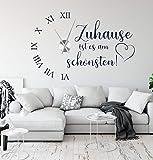 tjapalo® a230 Wanduhr Wohnzimmer Wandtattoo Uhr Sprüche Zitate Zuhause ist es am schönsten Wandspruch Wandaufkleber mit Uhrwerk, Größe: B90 x H58cm (+Uhrwerk schwarz), Farbe: Schwarz