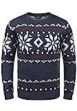!Solid Norwig Herren Weihnachtspullover Norweger-Pullover Winter Strickpullover Grobstrick Pullover mit Rundhalsausschnitt, Größe:XXL, Farbe:Insignia Blue Melange (8991)