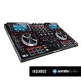 Numark NVII - intelligenter 4-Deck Dual-Display-DJ-Controller für Serato DJ (mit dabei) mit 5-Zoll-Metall-Jogwheels, 16 anschlagdynamischen Pads, 10 Pad Modi, Toolroom Artist Packs