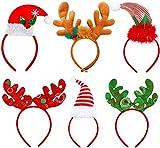 KAHEIGN 6Pcs Weihnachtself Hut Weihnachten Stirnband Kopfschmuck, Rentiergeweih Haarreif Weihnachtsmütze Weihnachten Kopfbedeckung für Weihnachtsfeier Kostüm Party