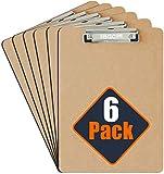 Klemmbrett A4 [6er-Pack] - Professionelle Masonite - Robuster, gefederter Griff und Aufhängehaken - Robustes Klemmbrett Holz - Perfekt für Büroarbeiten-Umweltfreundlich mit glasierter Oberfläche