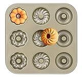ilauke Donut Backform Kuchenform 9er Cavity Geriffelte Blume Muffinform mit Antihaftbeschichtung für Muster Muffins, Cupcake, Bronnies, Kuchen, Pudding Form (Gold)
