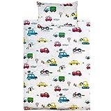 KEAYOO Kinderbettwäsche 100 x 135 100% Baumwolle Autos mit Reißverschluss für Mädchen Jungen