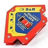 S&R Schweißmagnet mit Ein/Aus-Schalter, Starker Schaltbarer Winkelmagnet, Multiwinkel, Schweißwinkel 45°, 90°, 135°; 4-3/4' x 4-3/4' x 1'; 12 cm x 12 cm x 3 cm