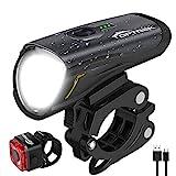 toptrek Fahrradlicht Set, LED Fahrradbeleuchtung Set akku USB Wiederaufladbare OSRAM LED-Licht, umschaltbar zwischen 50/30 Lux, Frontlicht & Rücklicht IPX4 Wasserdicht Fahrradlampe (LF12)