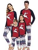 Aibrou Weihnachten Schlafanzug Familie Pyjama Set Deer Schlafanzüge für Damen Herren Nachthemd Kinder Lang Weihnachten Nachtwäsche mit Davidshirsch