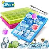 Eiswürfelform Silikon, 3 Stück Eiswürfel Form Eiswürfelbehälter mit Deckel, Ice Cube Tray, Eiswürfelformen Eiswuerfel, Eiswürfelbereiter, Eiswürfelform für Familie Partys Bars, 24-Fach