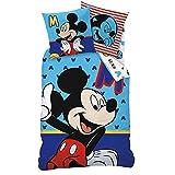 Linon Kinder Bettwäsche Mickey Mouse ' Motiv Sitting ' 135 x 200 cm + 80 x 80 cm Neu & Ovp 100% Baumwolle Micky Maus