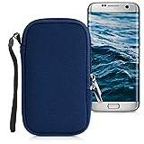 kwmobile Handytasche für Smartphones L - 6,5' - Neopren Handy Tasche Hülle Cover Case Schutzhülle Dunkelblau - 16,2 x 8,3 cm Innenmaße