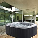 Whirlpool MSpa aufblasbar für 4 Personen 158x158cm In-Outdoor Pool 108 Massagedüsen Timer Heizung Aufblasfunktion per Knopfdruck Bubble Spa Wellness Massage