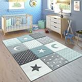 Paco Home Kinderteppich Pastellfarben Kariert Punkte Mond Sterne Weiß Grau Blau, Grösse:80x150 cm