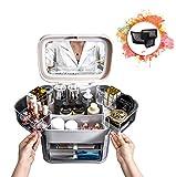 Messygo LED Licht Schmink Organizer Mit Spiegel Schublade Tragbare Große Staub wasserdichte Aufbewahrungsbox Für Make Up Schmuck Für Badezimmer Waschtischplatte