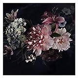 Vlies Fototapete Blumen mit Nebel auf Schwarz Vliestapete, 240cm x 240cm
