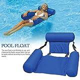 Wasser Hängematte Luftmatratze Mit Netz,wasserhängematte Aufblasbare Pool, Schwimmstuhl Pool Lounge, Poolliege Aufblasbar Schlauchboote Schwimmbad Für Erwachsene Wassersport (100 X 120 cm/Blau)