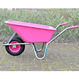 TRUTZHOLM Schubkarre rosa/pink PP 100 Liter | 250 kg Bau Karre Gartenschubkarre Bauschubkarre Schiebkarre Garten rostfrei verstärkt stabil hohe Tragkraft