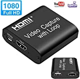 MOSOY Video HDMI Capture Card with Loop Out, 4K HD 1080P 60fps USB 2.0 Capture Card for Live Streaming Broadcasting Video Recording for PS3/4, Xbox One & Xbox 360, Switch, DSLR, Camcorder