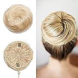 Haarteile Echthaar Haargummi für Haarknoten 100% Remy Haar Glatt Dutt mit Haaren Hochsteckfrisuren 30 Gramm 613# Bleichblond