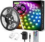 LE 5M RGB LED Strip Set, 5050 SMD LED Streifen, 12V, Selbstklebend LED Strips, Flexibel LED Band, LED Leiste, LED Lichtband IP20, Netzteil und Controller enthalten