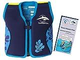 Lampiphant Konfidence Kinder-Schwimmweste aus Neopren, Edition mit Plitsch-Platsch-Fibel, 4-5 Jahre, Blaue Blätter