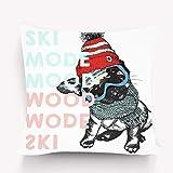 sherry-shop Kissenbezug Poster Nahaufnahme Porträt Beagle Hund Skimodus Stimmung Welpe trägt Beanie Schal Schneebrille Hand gezeichnet Inked 20X20IN