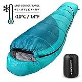 Bessport Schlafsack Winter | -10°C Outdoor Mumienschlafsack für Erwachsene, Camping - Ultraleichter und Wasserdichter - Warm Sprüh Gebundene Baumwolle Füllung (Green)