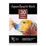 Aquarellpapier 300g DIN A4, 30 Blatt, Weißer Block geleimt, Aquarell-Block Malblock Papier für Aquarell Stifte Zeichnen Malen, Wasserfarben Aquarelltechniken Watercolor Paper Pad rauh weich matt