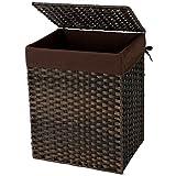 SONGMICS Wäschekorb handgeflochten, 90 L, Wäschesammler aus synthetischem Rattan, mit Deckel und Griffen, faltbar, Wäschesack herausnehmbar, braun LCB51BR
