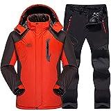 AXIANNV Skianzug Herren Wasserdicht, Thermo Snowboard JackeHoseHerrenBerg Skifahren und Snowboarden Winter Schnee Kleidung Set, orange, L