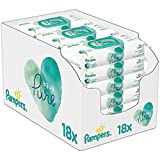 Pampers Aqua Pure Feuchttücher 18 Packungen Mit Je 48 Stk.= 864 Feuchttücher Mit 99% Purem Wasser, Dermatologisch Getestet