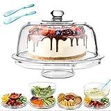 Masthome 6 in 1 Multifunktional Kuchenteller Kuchenständer 31,5cm,Salatschüssel mit Deckel auch Chip & Dip Servierer mit Haube,Kuchen Transportbox