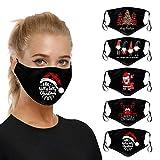 riou 5 Stücke Mundschutz mit Motiv Waschbar Baumwolle Atmungsaktive Staubdicht Mund und Nasenschutz Face Covering für Damen Herren (Z-7)