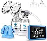 Milchpumpe, Elektrische Milchpumpe mit LED-Touchscreen, Massage & Speicherfunktion von 4 Modi und 9 Saugstufen, 10-teiligen Milchbeuteln, BPA-frei