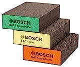 BOSCH 2608621253 Schleifschwamm-Set Best for Flat & Edge – Orange / Gelb / Grün (3-teilig)