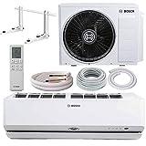 Bosch Climate 9000i, Split Klimaanlage 3,5kW 12000 BTU (50m²), leise und energiesparende A+++ Inverter Klimaanlage, Komplettset vorgefüllt mit Kühlmittel inkl. Montageset