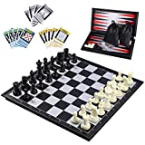 iBaseToy 3 in 1 Schach Magnetisch, Reiseschachspiel Magnetisch Schach Backgammon für Kinder , Magnet Backgammon Schachspiel Reise Chess Set, 32cm x 32cm